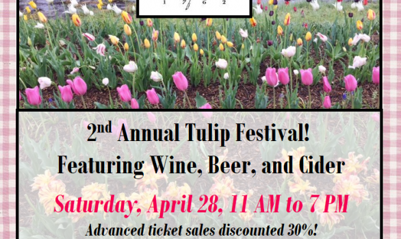 Saturday, April 28, 11 AM to 7 PM – PCW 2nd Annual Tulip Festival featuring Wine, Beer, and Cider!
