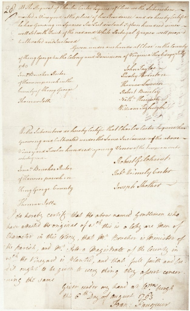 Gov Fauquier's Certificate 1763
