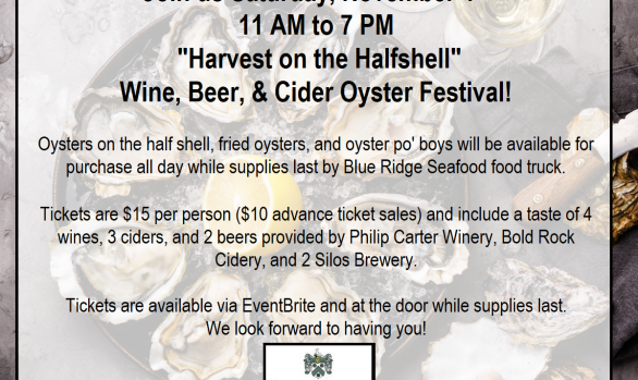 "November 4th: ""Harvest on the Halfshell""  Wine, Beer, & Cider Oyster Festival!"